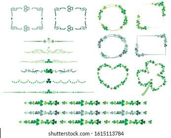 Shamrock decorative borders and frame set.