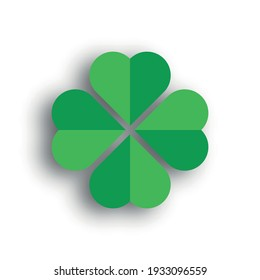 Shamrock - green four leaf clover icon. Good luck theme design element. 3D vector illustration with dropped shadow.