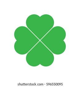 Shamrock - green four leaf clover icon. Good luck theme design element. Simple geometrical shape vector illustration.