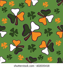 Shamrock Leaves on a green background. St.Patrick's Day. Seamless Vector pattern for postcards, gift wrapping, scrapbook, wallpapers, textile, clothes and linen