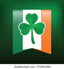 Shamrock on Irish flag background. Happy St. Patrick's Day. Vector illustration