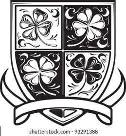 Shamrock Shield in Black and White