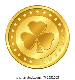 Shamrock. Three-leaf clover gold coin with stars. Saint Patrick's day. Irish.  Lucky. Vector illustration isolated on white background.  Editable elements and glare. Casino game. Rich EPS 10