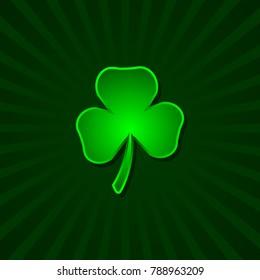Shamrock vector icon. Green shamrock illustration. Isolated shamrock for Saint Patrick s Day.