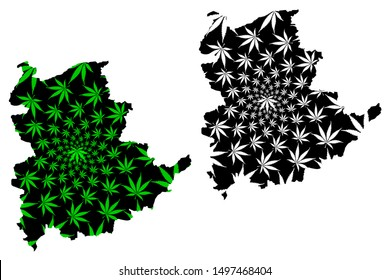 Shan State (Administrative divisions of Myanmar, Republic of the Union of Myanmar, Burma) map is designed cannabis leaf green and black, Shan State map made of marijuana (marihuana,THC) foliage,