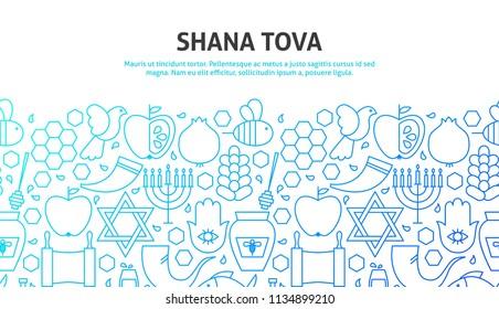Shana Tova Concept. Vector Illustration of Line Website Design. Banner Template. Rosh Hashanah.