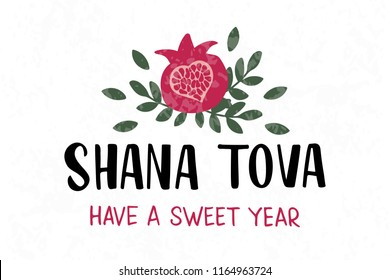 Shana Tova - handwritten modern lettering with pomegranate. Jewish New Year. Holiday banner design. Template for postcard or invitation card, poster, print. Vector illustration.