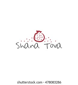 """""""Shana Tova"""" (Happy New Year on hebrew). Greeting card for Jewish New Year with flowers and traditional elements of Holiday Rosh Hashanah"""