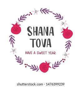 Shana Tova holiday flat vector banner template. Pomegranates, flowers, branches round frame. Rosh Hashanah celebration botanical border with lettering, postcard, poster design element