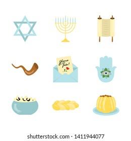 Shana Tova holiday set (Jewish New Year): Star of David, Torah, Hamsa hand, Menorah candelabrum, Shofar, black eyed peas, pound cake, lekach. Vector icons are isolated on white background. EPS10