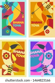 Shana Tova – A set of four posters design for Rosh Hashana – An Israeli Jewish holiday. The illustration was made with harmonic retro style colors.