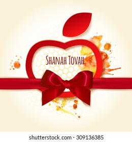 Shanah Tovah greetings background for Jewish New Year, Rosh Hashanah. Vector illustration of apple and honig symbols