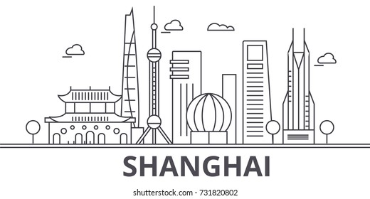 Shanghai architecture line skyline illustration. Linear vector cityscape with famous landmarks, city sights, design icons. Landscape wtih editable strokes