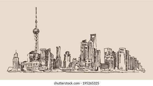Shanghai, China, city architecture, vintage illustration, engraved retro style, hand drawn, sketch