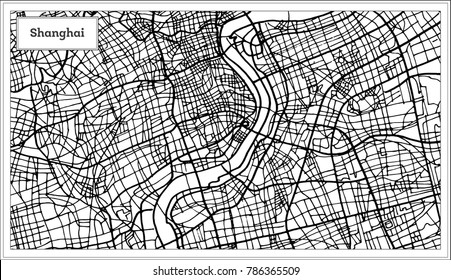 Shanghai China City Map in Black and White Color. Vector Illustration. Outline Map.