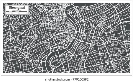 Shanghai China City Map in Retro Style. Vector Illustration. Outline Map.