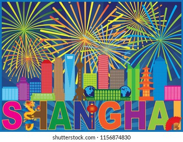 Shanghai China City Skyline Outline Silhouette Color Text Abstract Fireworks Pattern Background Illustration
