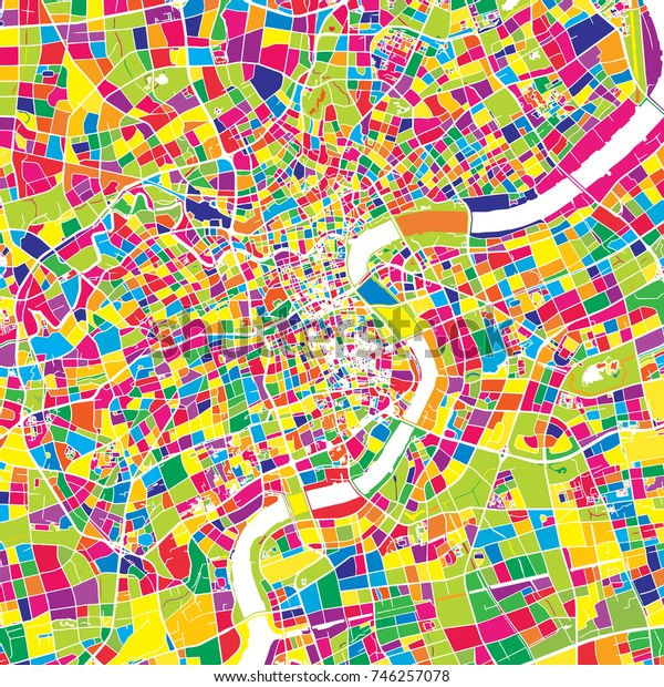 Shanghai, China, colorful vector map.  White streets, railways and water. Bright colored landmark shapes. Art print pattern.