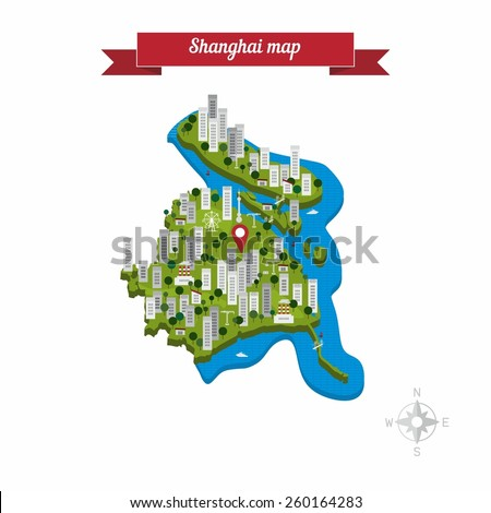 Shanghai China Map Flat Style Design Stock Vector (Royalty Free ...