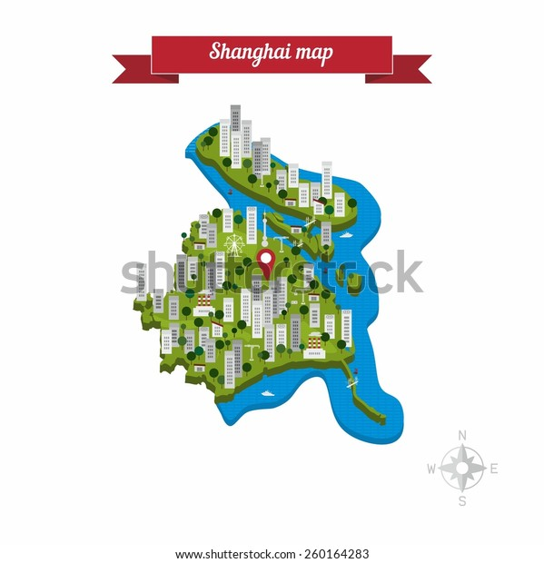 Shanghai China Map Flat Style Design Stock Vector Royalty Free