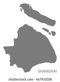 Shanghai China Map in grey