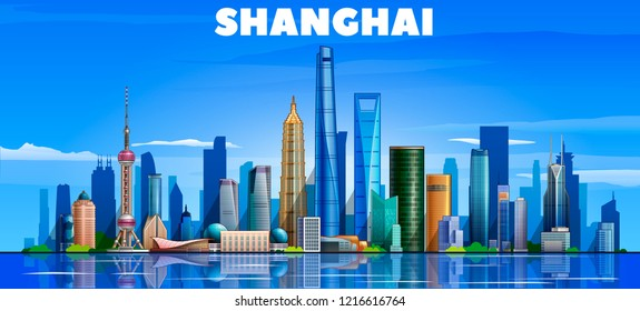 Shanghai ( China ) skyline with panorama in sky background. Vector Illustration. Business travel and tourism concept with modern buildings. Image for presentation, banner, web site.