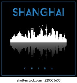 Shanghai, China skyline silhouette vector design on parliament blue and black background.