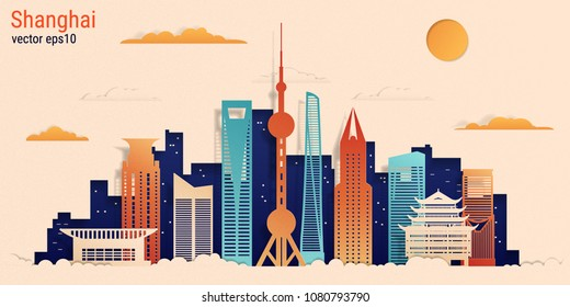 Shanghai city colorful paper cut style, vector stock illustration. Cityscape with all famous buildings. Skyline Shanghai city composition for design