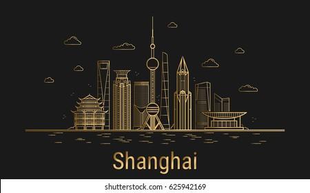Shanghai city line art, golden architecture vector illustration, skyline city, all famous buildings.