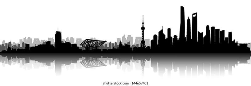 Shanghai City Skyline Silhouette vector artwork