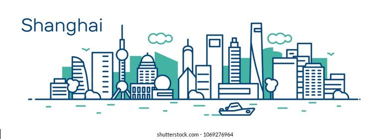 Shanghai city. Vector illustration