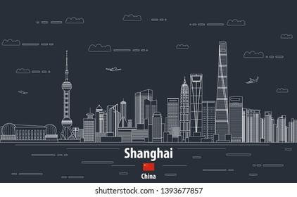 Shanghai cityscape line art style vector detailed abstrct illustration. Travel background