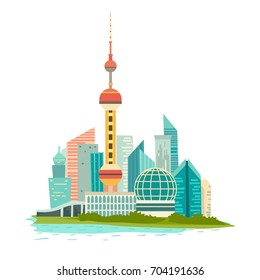 Shanghai cityscape vector icon. Chines urban modern background, isolated on white. Buildings and tower construction