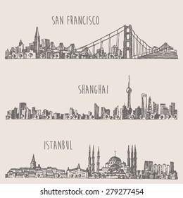 Shanghai, Istanbul, San Francisco, big city architecture, vintage engraved illustration, hand drawn, sketch