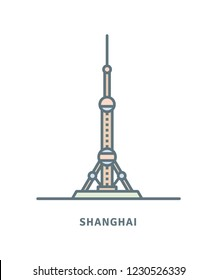 Shanghai line icon. The Oriental Pearl Radio and Television Tower vector illustration.