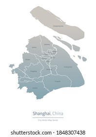 Shanghai Map. vector map of major city in the China.