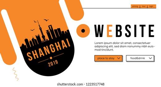 Shanghai Modern Web Banner Design with Vector Skyline