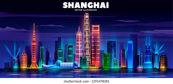 Shanghai night skyline on a black background. Flat vector illustration. Business travel and tourism concept with modern buildings. Image for banner or web site.