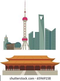 Shanghai skyline and Beijing Forbidden City Temple