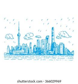 Shanghai skyline, China. Vector freehand pencil sketch.