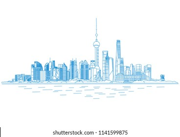 shanghai skyline, shanghai financial center, vector illustration