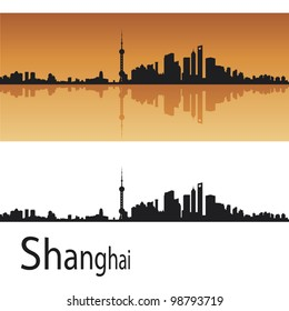 Shanghai skyline in orange background in editable vector file