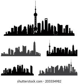 Shanghai skyline set. Buildings silhouette collection.