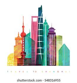 Shanghai skyline. Travel and tourism background. Vector illustration