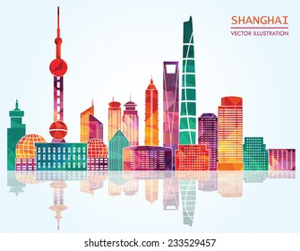 Shanghai skyline. Vector illustration