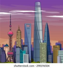 shanghai skyline .vector illustration
