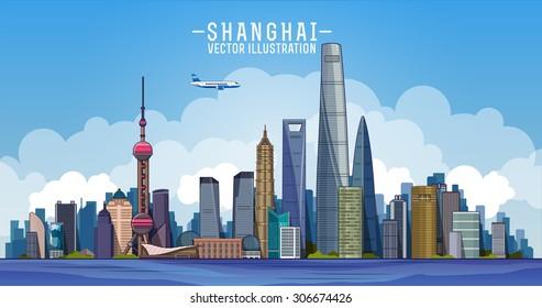 Shanghai skyline. Vector line  illustration