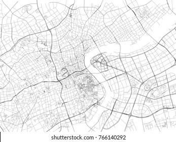 Shanghai street, City Map, China, Roads