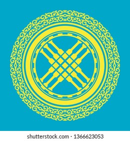 Shanyrak, tundyuk, toono - a constructive element crowning the dome of the yurt. Traditional ornament of Asian nomads: Mongols, Kazakhs, Kirghiz, Bashkirs, Tatars.