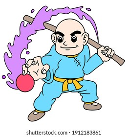 shaolin bald boy is gathering energy to attack, doodle draw kawaii. vector illustration art